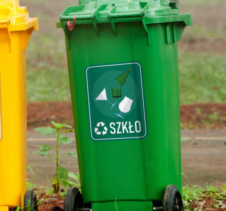 TenStickers. Naklejka z rysunkiem Segregacja szkła. Użyteczne naklejki na kosze do segregacji z pewnością pomogą Ci i innym odpowiednio segregować odpady zarówno w domu jak i w firmie.