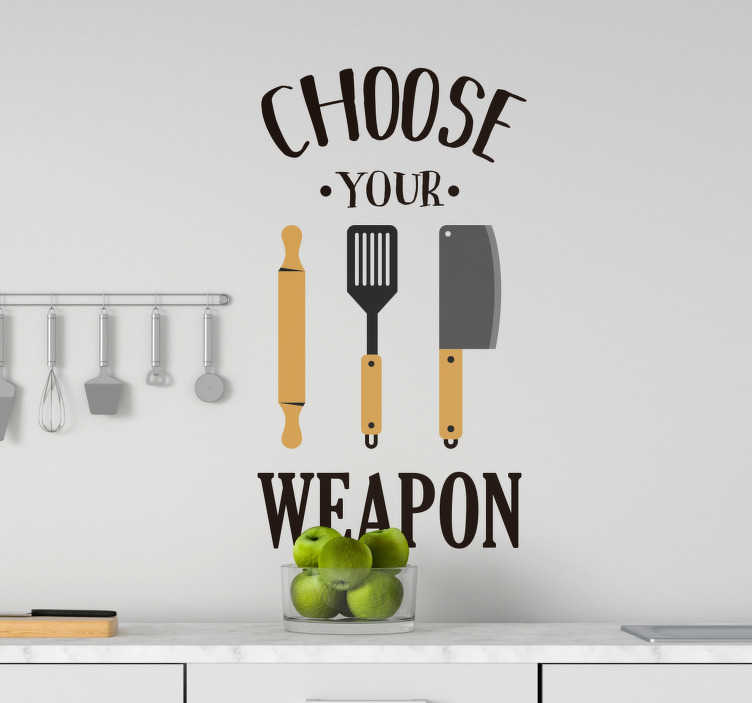 TenStickers. Muurstickers keuken keuken spelletje. Cool kitchen wallsticker. This wallsticker for kitchens or living room wallstickers is available in all sizes. Enjoy funny kitchen wallsticker!
