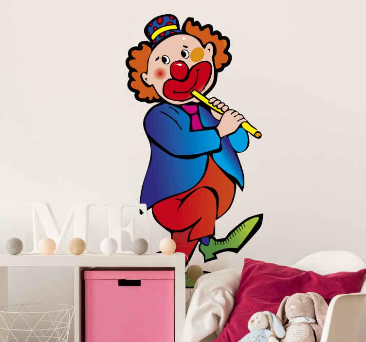 TenStickers. Adesivo bambini pagliaccio 20. Un clown con giacca blu e scarpe verdi, intento a suonare il flauto. Lo sticker che cercavi per decorare la cameretta dei bambini.