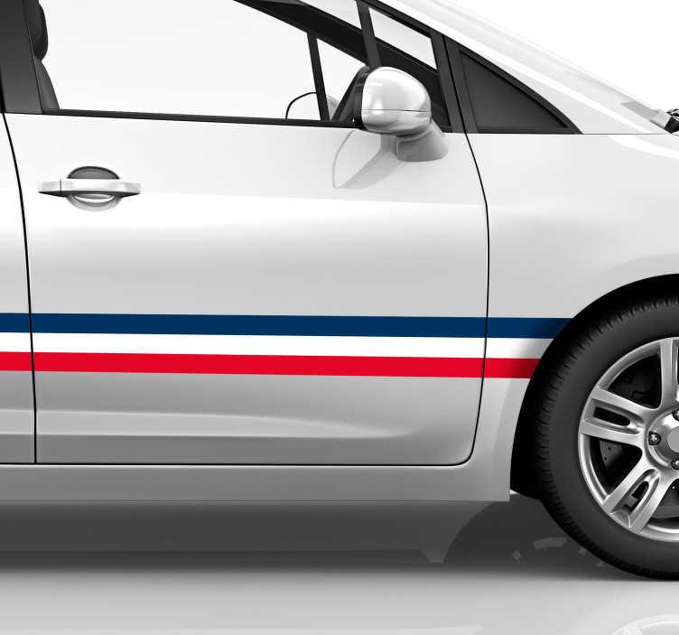 TenStickers. Autocollant Tuning Bande drapeau Français. Ce sticker tuning représente une bande aux couleurs du drapeau français, à appliquer tout le long de votre carrosserie : pour tout type de véhicule.