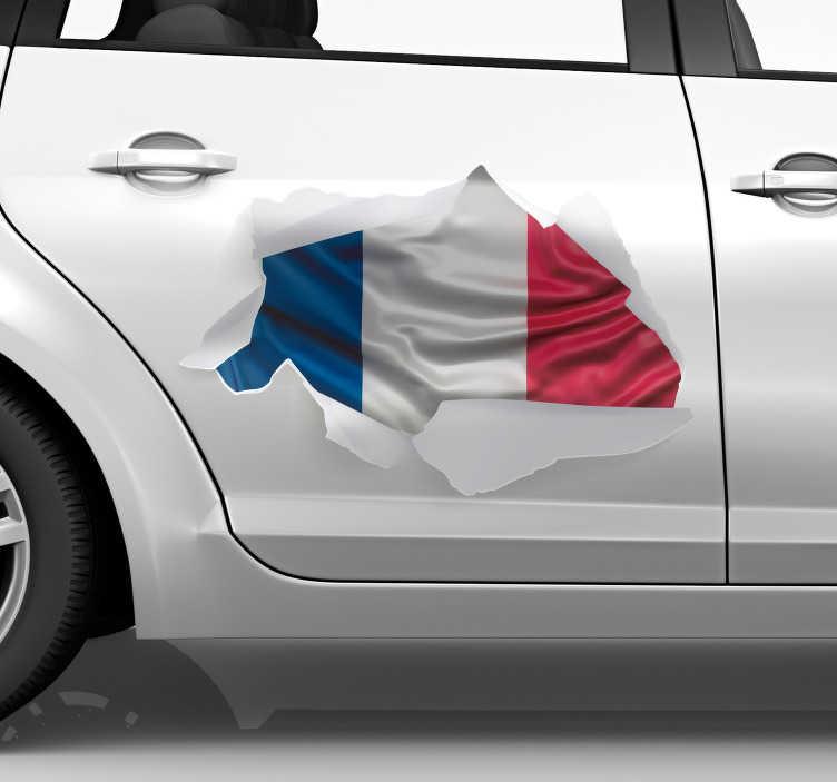 TenStickers. Stickers Trompe l Oeil Drapeau Français. Ce sticker tuning représente le drapeau français dans un style de trompe-l'oeil, qui correspondra à tout type de véhicule.