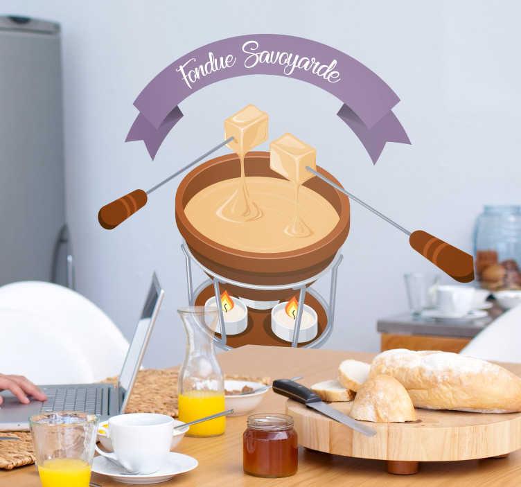 TenStickers. Sticker Maison Fondue Savoyarde. Amoureux du fromage, et surtout de la fondue savoyarde, ce sticker mural dessin est désigné pour les murs de votre cuisine !