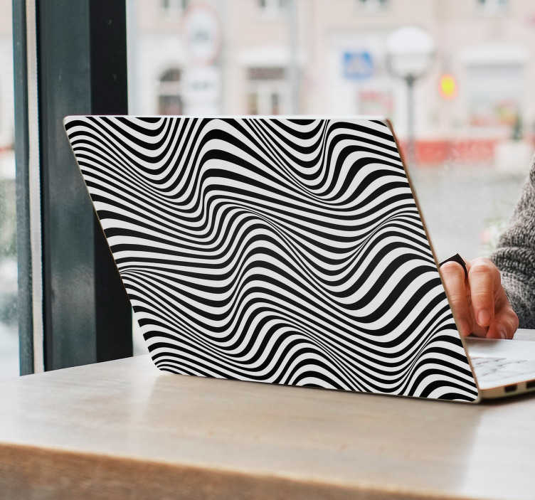 TenStickers. Visual effect pattern laptop skin. Visual effect pattern laptop sticker designed in a wave manner in black and white colour. Easy to apply and highly durable.