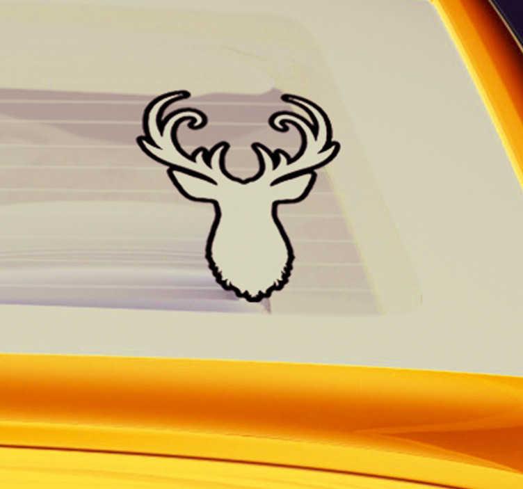 TenVinilo. Vinilo animal silueta ciervo. Pegatina para vehículo formada por la ilustración en negro y la silueta en blanco de la cabeza de un ciervo. Envío Express en 24/48h.