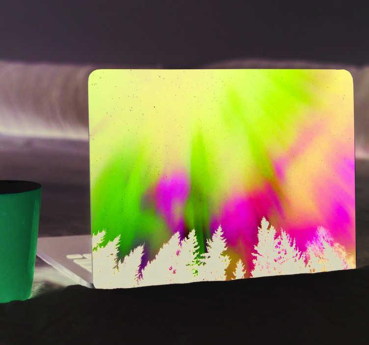 Tenstickers. Nordlysvitenskapsteikett. Skreddersy din bærbare pc med denne vakre fargerike dekalen, samtidig som du beskytter den mot riper og støv. Rabatter tilgjengelig.