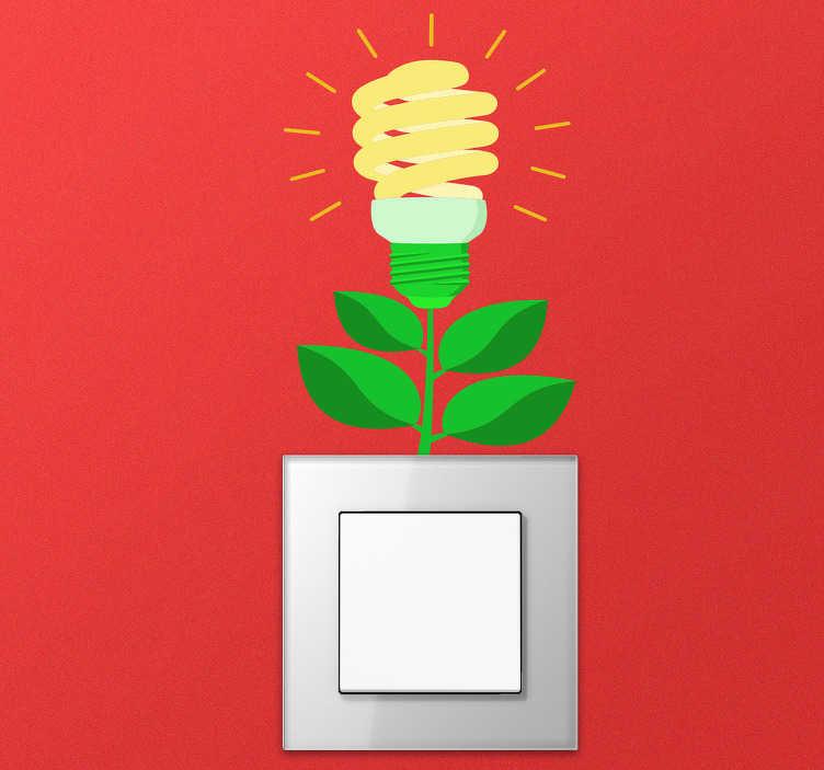 TenStickers. Wandtattoo Blumen Lichtschalter Glühbirne. Möchten Sie, dass Ihnen ein helles Licht aufgeht? Dann schauen Sie unseren lustigen Blumen Aufkleber für den Lichtschalter an!