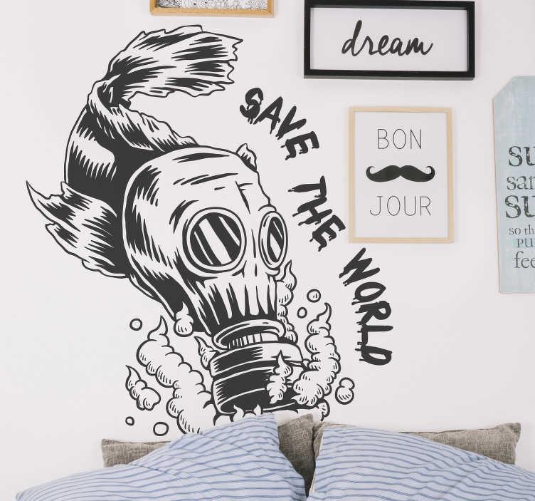 """TenVinilo. Vinilo original contaminación del agua. Fantástico vinilo formado por el diseño de un pez con una máscara de gas y acompañado del texto """"Save the world"""". Atención al Cliente Personalizada."""