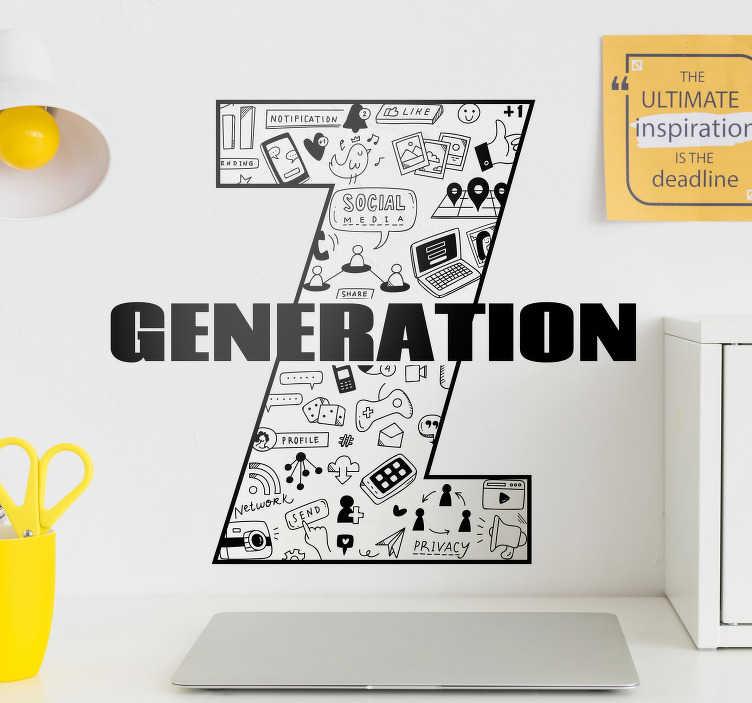 """TenStickers. 一代z文字贴纸. 这个文字贴纸代表了一个具有数字世界所有图案的大""""z"""",是为z世代的所有人制作的。"""