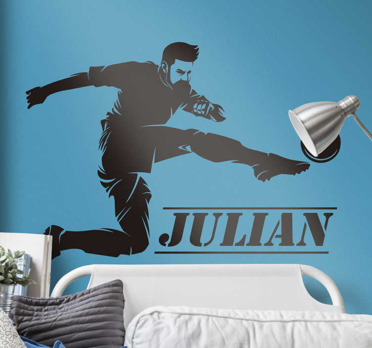 TenStickers. Football player Home Wall Sticker. This sport decal is made for football fans : it represents a football player shooting in a ball. You can personalize the name.