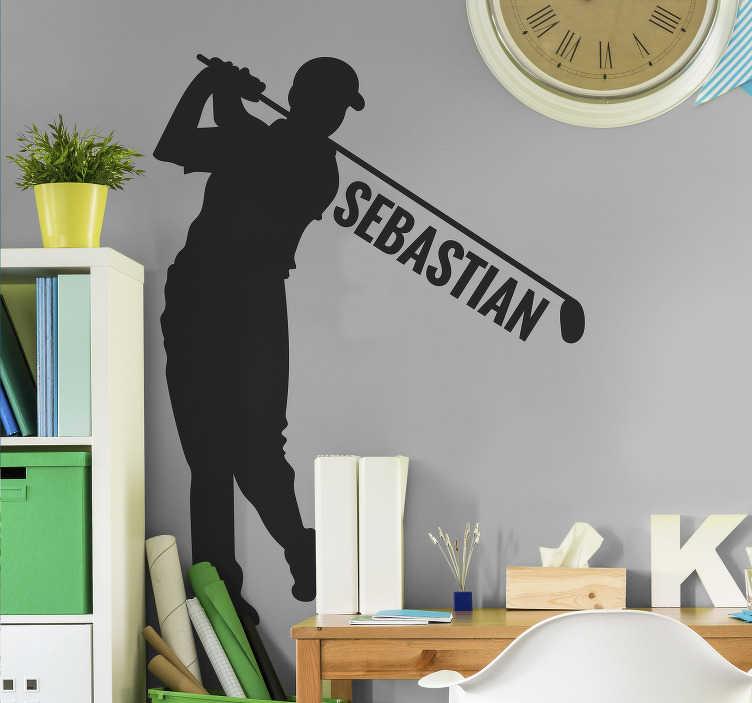 TenVinilo. Vinilo pared jugador de golf con nombre. Fantástico vinilo personalizado para habitación juvenil formado por la ilustración de un jugador de golf. Vinilos Personalizados a medida.