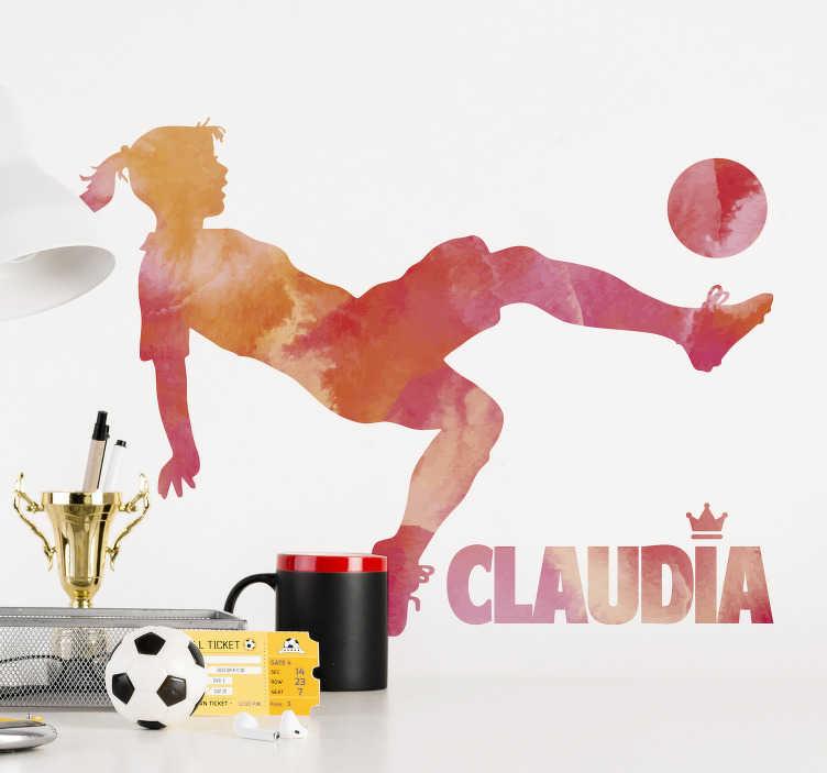 TenVinilo. Vinilo jugadora de fútbol con nombre. Original pegatina formada por la silueta de una jugadora de fútbol simulando un efecto acuarela en tonos cálidos. Fácil aplicación y sin burbujas.