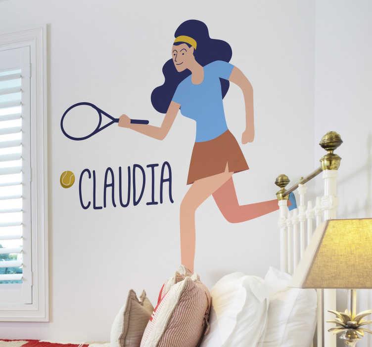 TenVinilo. Vinilo deporte jugadora de tenis con nombre. Colorida pegatina juvenil formada por la silueta de una jugadora de tenis acompañada del nombre que nos indiques. Promociones Exclusivas vía e-mail.