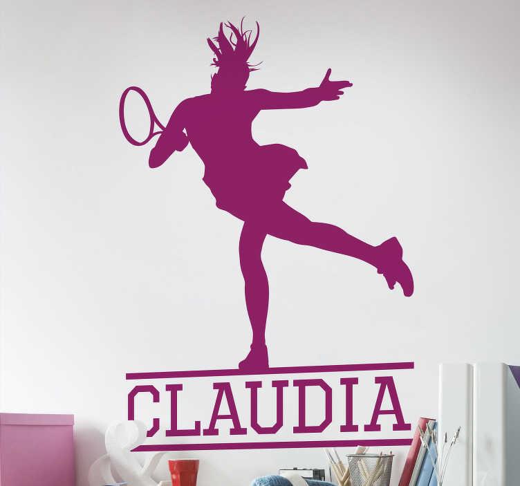 TenStickers. Sticker Sport Joueuse de Tennis avec Prénom. Ce sticker sport est composé de la silhouette de la joueuse en pleine action et de son prénom, juste en bas, que vous pourrez modifier à votre guise.