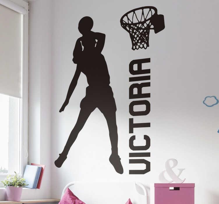TenVinilo. Vinilo pared jugadora haciendo mate con nombre. Decora tu habitación con este vinilo juvenil personalizado formado por la ilustración de una jugadora de baloncesto. Descuentos para nuevos usuarios.