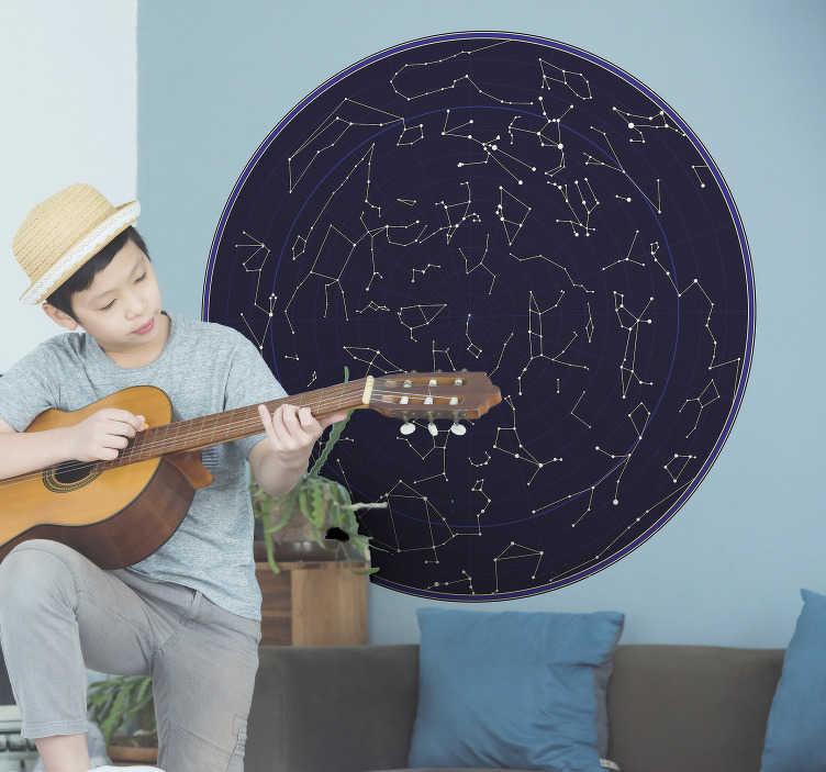 TenVinilo. Vinilo original mapa constelaciones. Vinilo para habitación juvenil formado por un mapa en forma circular con la representación de constelaciones. Compra Online Segura y Garantizada.