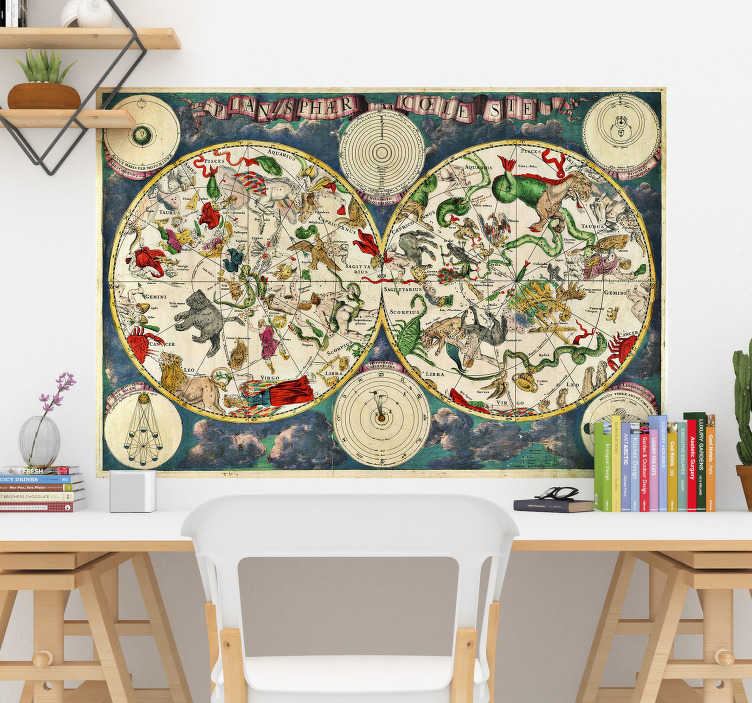 TenStickers. Sticker Science Carte des Étoiles. Pour une décoration au style vintage qui mêle le décoratif à l'apprentissage, cette carte rétro des constellations sera idéale.