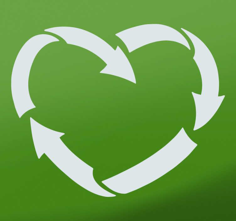TenVinilo. Vinilo dibujo recicla con el corazón. Original pegatina formada por el símbolo del reciclaje representado a partir del diseño de un corazón. Precios imbatibles .