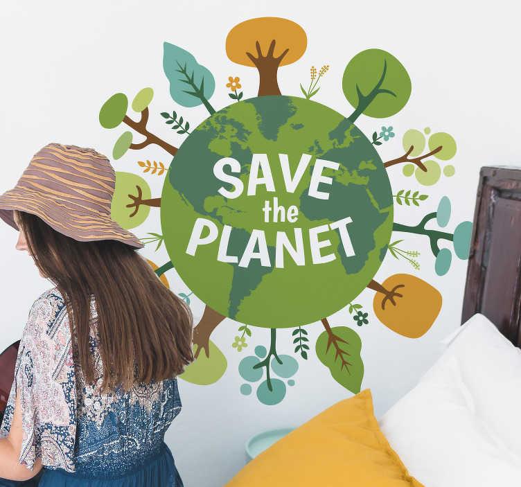 """TenStickers. Wandtattoo Jugendzimmer Grüne Erde. Auf der Suche ein Zeichen zu setzen und um Nachhaltigkeit zu werben? Dann kaufen Sie unseren """"Save the planet"""" Aufkleber!"""