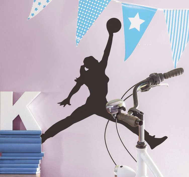 TenVinilo. Vinilo deporte silueta mujer mate. Original pegatina para habitación juvenil formada por la silueta de una jugadora de baloncesto. Promociones Exclusivas vía e-mail.