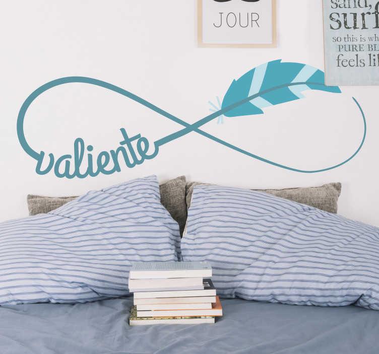 """TenVinilo. Vinilo pared símbolo infinito texto valiente. Pegatina en color turquesa formada por el símbolo del infinito y el diseño de una pluma y el texto """"Valiente"""". +10.000 Opiniones satisfactorias."""
