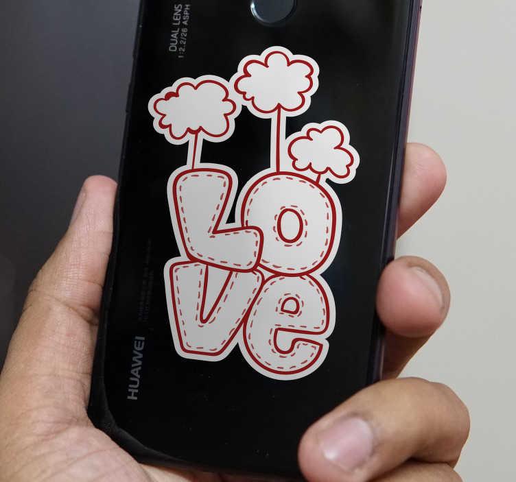 """TenVinilo. Vinilo original texto Love. Original pegatina para decorar tu Huawei formada por el texto """"Love"""" acompañado de tres nubes utilizando el color blanco y rojo. Precios imbatibles."""
