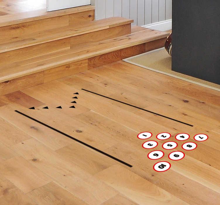 TenVinilo. Vinilo original para suelo bolos. Pegatina adhesiva para el suelo formada por el diseño de una típica pista para jugar a los bolos. Descuentos para nuevos usuarios.