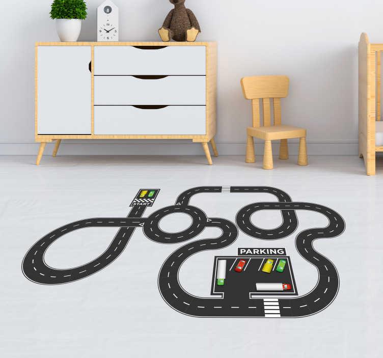 TenVinilo. Suelo vinílico circuito coches infantil. Original suelo vinílico para habitación infantil formado por el diseño de un circuito de coches. Compra Online Segura y Garantizada.