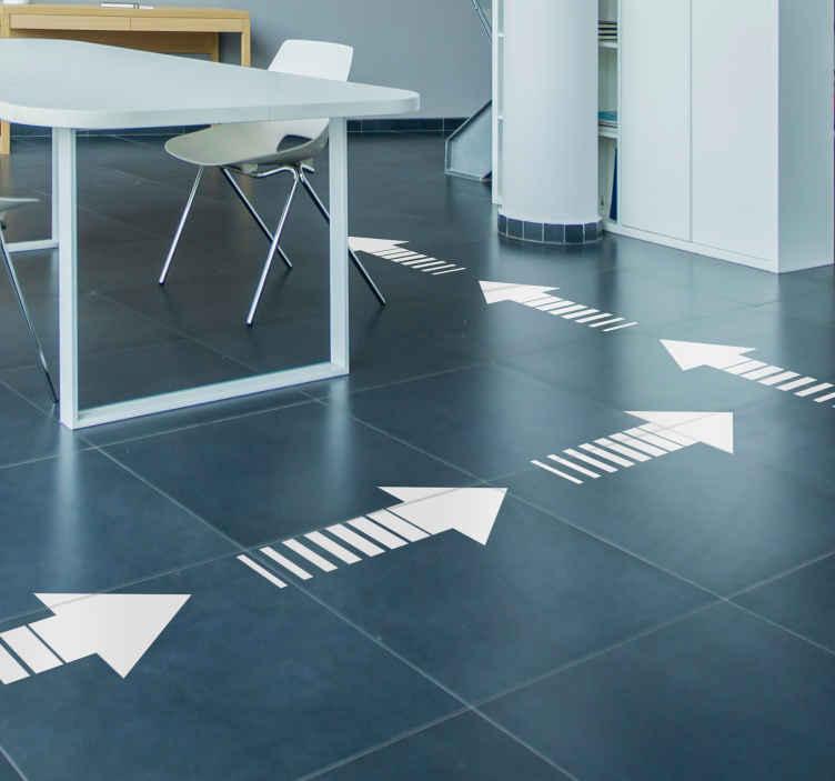 TenVinilo. Suelo vinílico set siga la fecha. Pack para el suelo formado por 15 flechas ideales para señalar cualquier dirección en una empresa o establecimiento. +50 Colores Disponibles.
