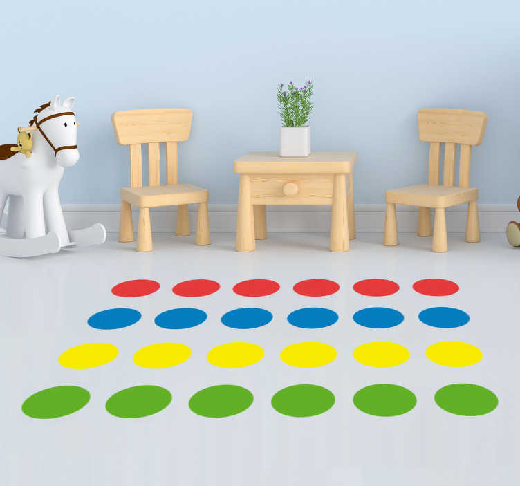 TenStickers. Twister Game Floor Sticker. Add the game of Twister permanently to your floor with this superb game sticker, depicting the classic game! Available in 50 colours.
