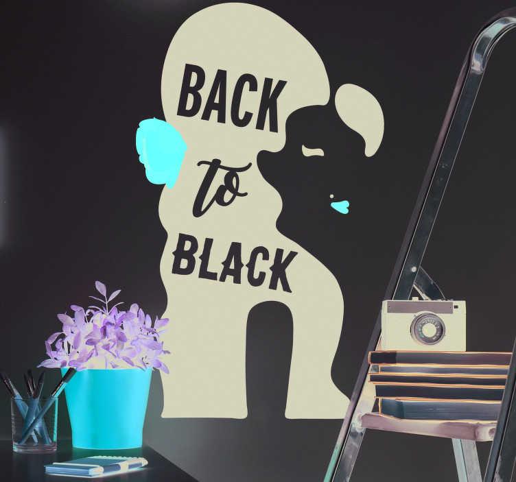 TenStickers. Silhouette stickers songtekst Amy Winehouse. Als het liedje 'Back to Black' van de zangeres Amy Winehouse jouw favoriete was, is deze muursticker de ideale manier om je wanden mee te versieren.