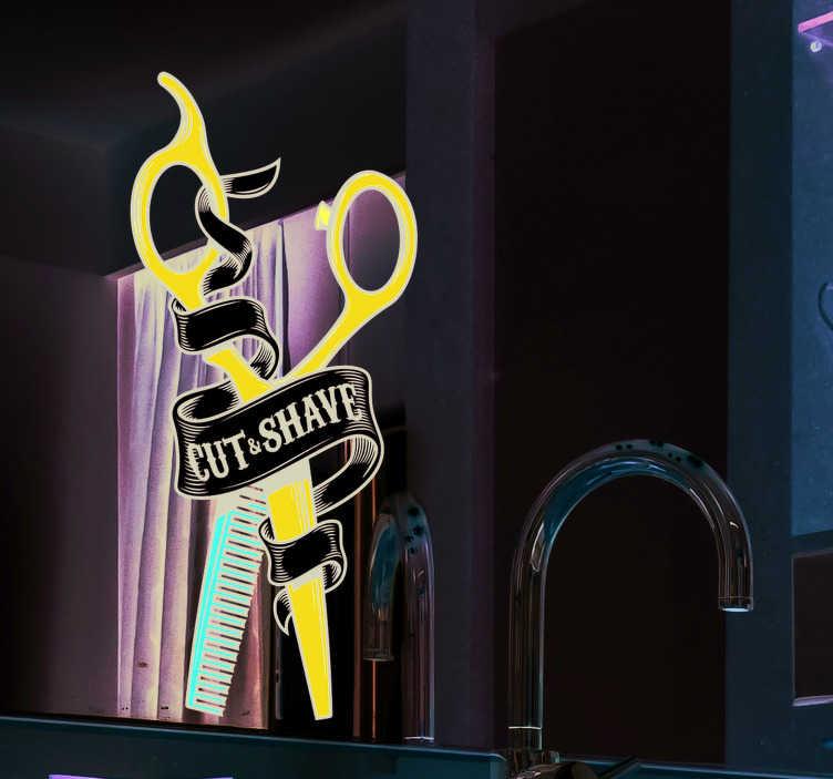 TenStickers. Autocollant Vitrophanie Dessin Ciseaux. Pour les coiffeurs, les barbiers, ou les deux à la fois, ce sticker entreprise au style vintage sera parfait aussi bien sur un mur que sur une vitre.
