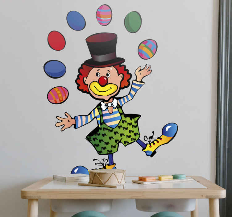 TenStickers. Juggling Clown Kids Sticker. Kids Wall Stickers-Fun, colourful and playful illustration of a clown juggling colourful eggs.