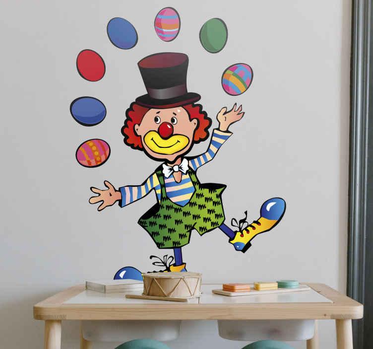 TenStickers. Sticker kinderkamer jongeleren clown circus. Een muursticker van een clown uit het circus dat met 7 paaseieren tegelijkertijd jongleert. Decoratie sticker voor het opfleuren van de kinderkamer.