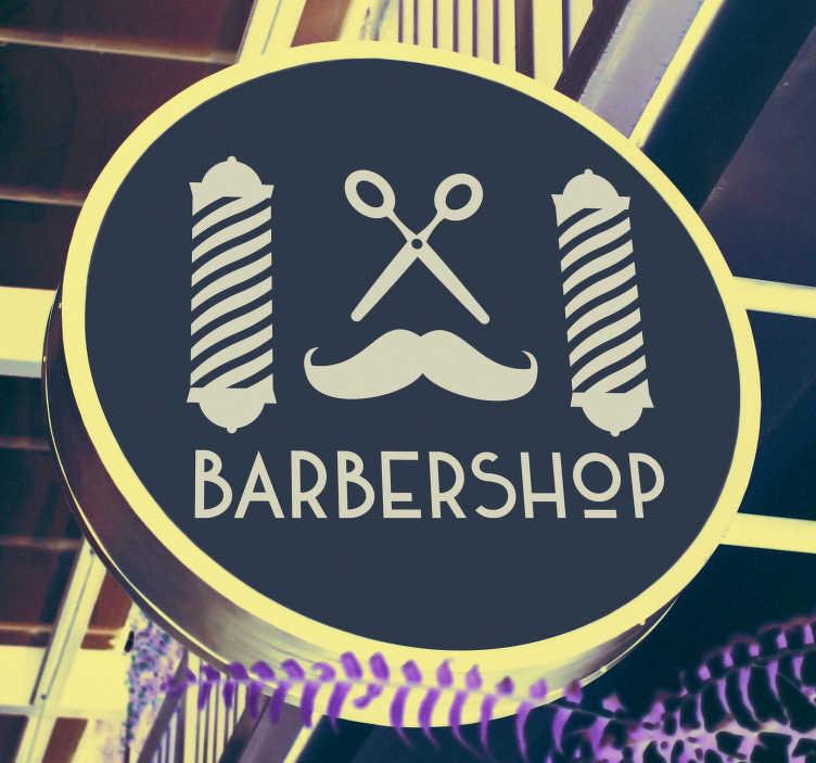"""TenVinilo. Cartel en vinilo elementos barbería. Pegatina para escaparate de barbería formada por el texto """"Barber shop"""" y el dibujo de unas tijeras y un bigote. Atención al Cliente Personalizada."""