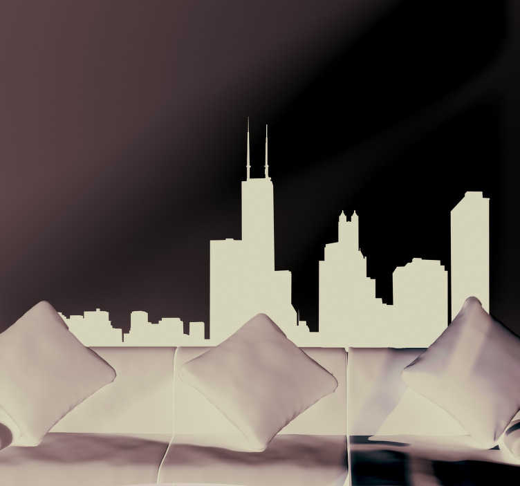 TenStickers. Chicago Skyline Silhouette Sticker. Decorate your home with this fantastic skyline silhouette sticker, depicting the amazing and infamous city of Chicago! Discounts available.