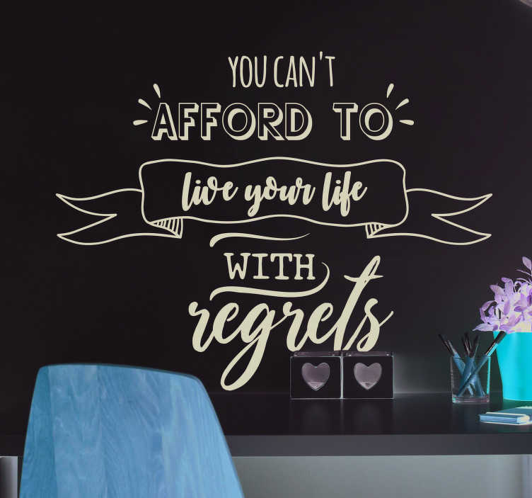 TenStickers. Shane Warne Regrets Quote Sticker. Remind yourself to never live with regrets with this fantastic wall quote sticker, depicting a superb quote from Shane Warne!