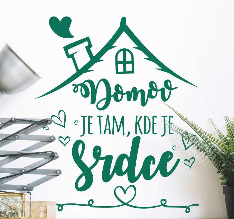 TenStickers. Domov je místo, kde je srdce obývací stěny dekor. Tento text zeď výzdoba je skvělá dekorace vytvořit atmosféru tepla a přátelskost ve vaší domácnosti. Slevy.
