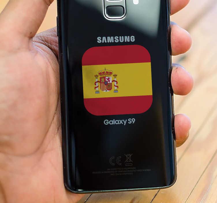 TenVinilo. Pegatina samsung  bandera españa. Sticker para móvil Samsung con una representación del emblema patrio español con el que hacer gala de tu país de origen. Precios imbatibles.