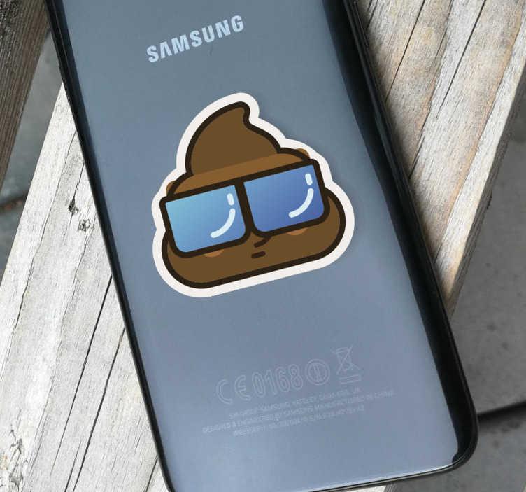 TenVinilo. Vinilo dibujo caca whatsapp. Pegatina de un dibujo emoticono de la caca, diseño gamberro para móviles Samsung juveniles. Fácil aplicación y sin burbujas