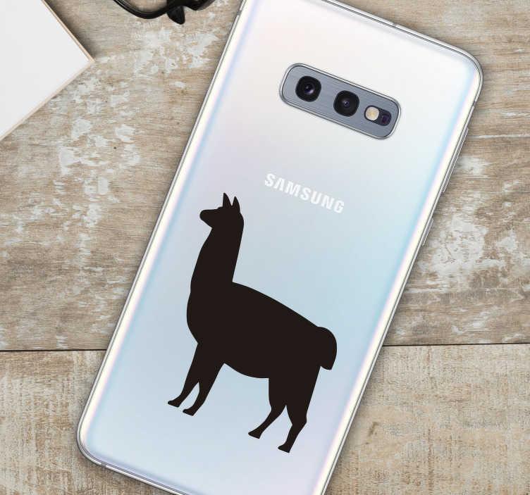 TenVinilo. Pegatina Samsung animal llama. Sticker Samsung con el dibujo de una llama de los Andes americanos, ideal para personalizar tu dispositivo móvil. Envío Express en 24/48h