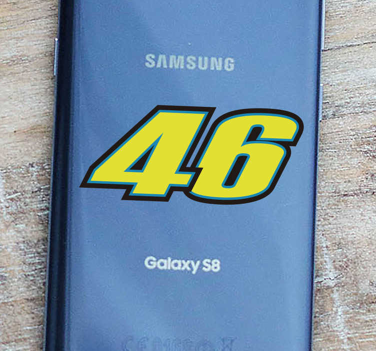 TenStickers. Motorrad Aufkleber Rossi 46 Samsung. Kennen Sie den Namen Rossi aus der Rennsportszene? Dann wird Ihnen dieser Handyaufkleber gefallen. Die Nummer 46 ganz großgeschrieben.