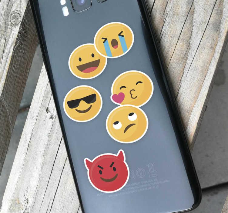 TenStickers. Sticker Icon Set Émoticones. Si vous utilisez des émojis tous les jours lors de vos échanges avec vos amis ou vos proches, cet autocollant d'émojis sera idéal pour votre portable.