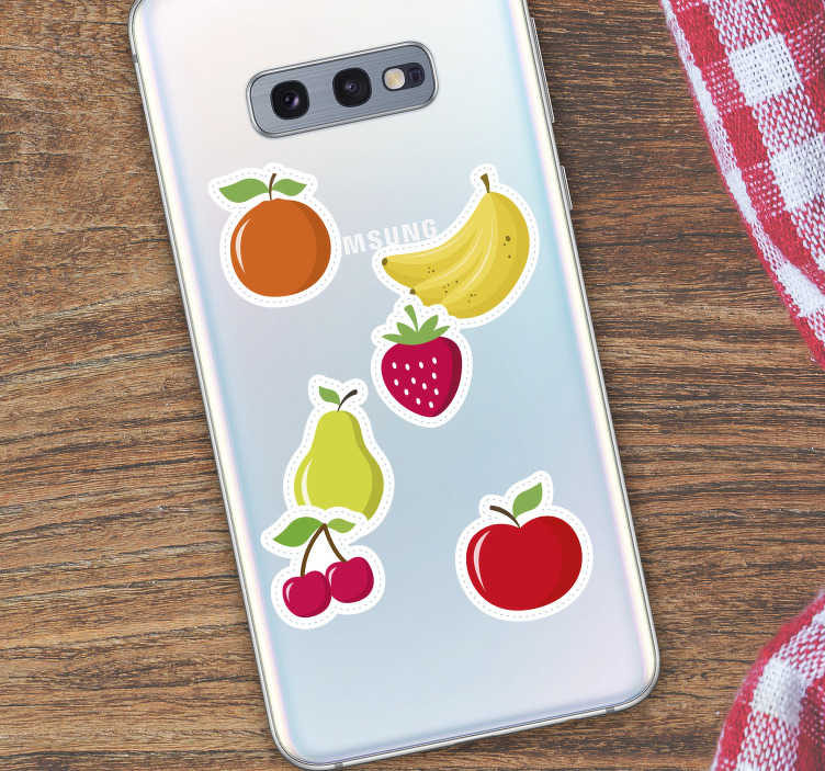 TenStickers. Fruit Set Samsung Phone Sticker. Add some fruit to your Samsung with this fantastic piece of phone decor - Ideal for making your Samsung stand out! Personalised stickers.