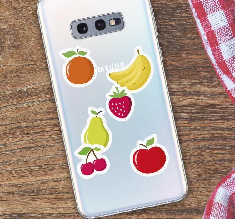 TenVinilo. Vinilo para Samsung set frutas. Selección de tus seis frutas favoritas, stickers para móvil de la marca Samsung ideal para personalizarlo a tu gusto. Fácil aplicación y sin burbujas