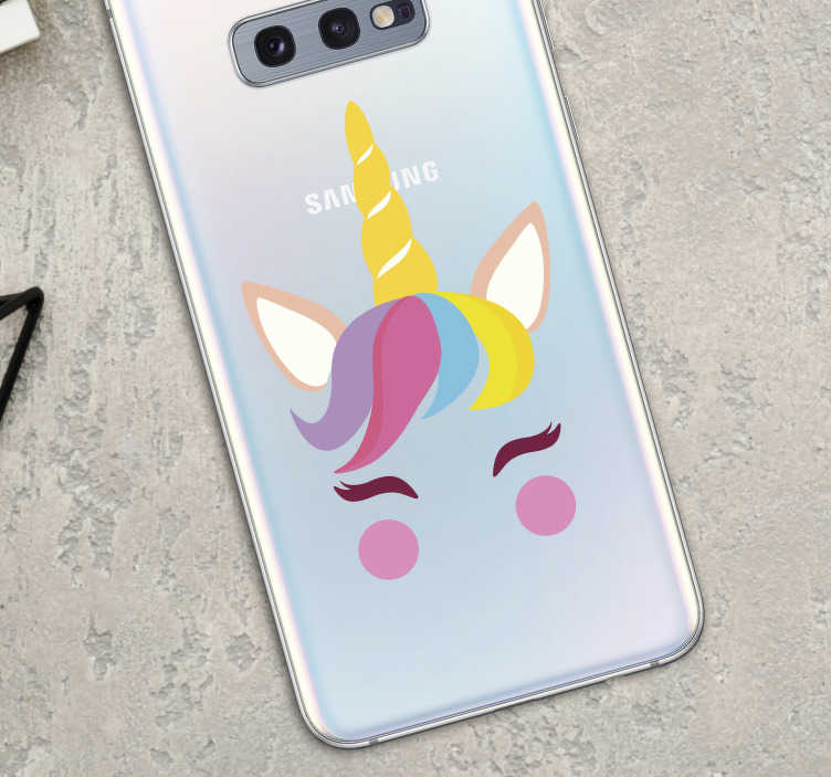 TenStickers. schattige eenhoorn samsung sticker. Super eenhoorn mobiel sticker! Bekijk hier Samsung mobiel decoratie met veel mobiel sticker, samsung mobiel sticker en eenhoorn samsung stickers!