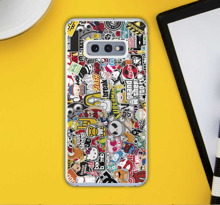 TenStickers. Stickerbomb (samsung) decal. Decorative sticker bomb for Samsung phone.  A design made with multiple designs of urban style from art, graffiti, text, games, signage and more.