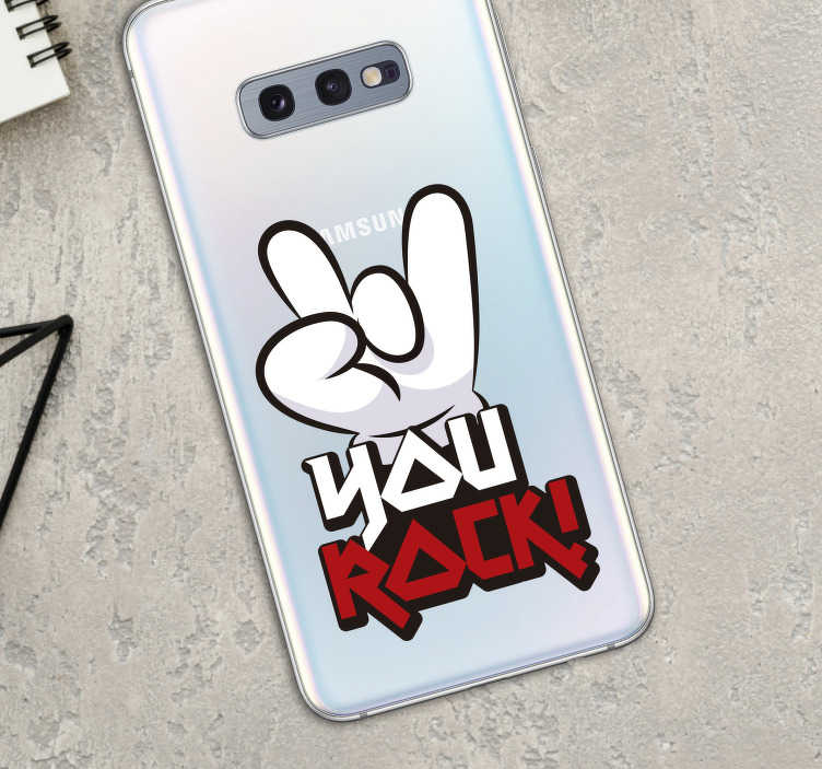 TenStickers. You Rock Sticker for Samsung. Remind yourself to keep on rocking with this superb Samsung sticker, depicting the words ´You Rock´! Available in 50 colours.