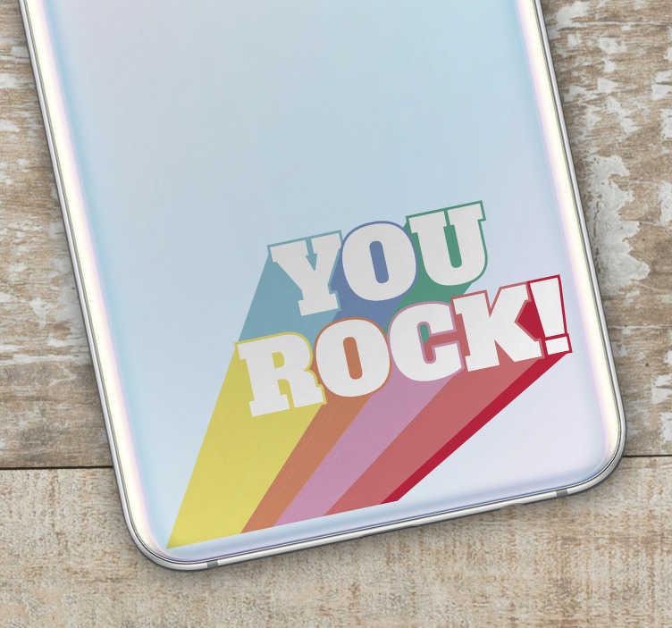TenStickers. Sticker Rock You Rock Multicolore. Pour un adhésif rock désigné exprès pour un téléphone portable de la marque Samsung, ce sticker de musique sera idéal en tant que cadeau !