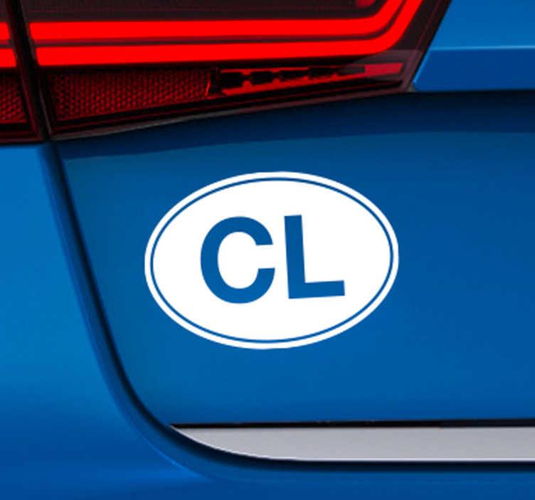 """TenVinilo. Vinilo para vehículo frase Chile. Pegatina para vehículo en forma ovalada con el hueco de las letras C y L, la abreviación de """"CHILE"""". Envío Express en 48/72h."""