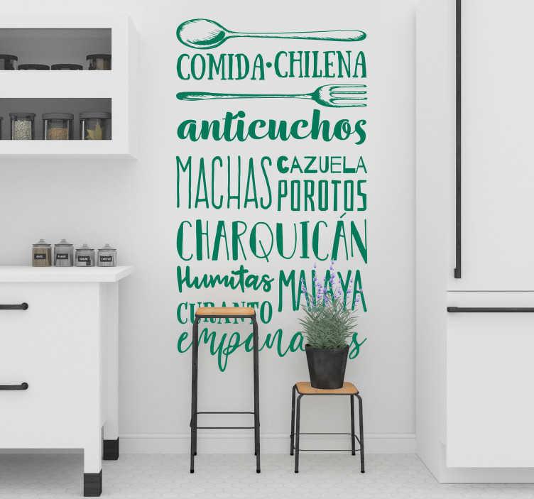 TenVinilo. Vinilo frase comidas chilenas. Original vinilo para pared de cocina formado por un listado de platos típicos de la cocina Chilena. Atención al Cliente Personalizada.